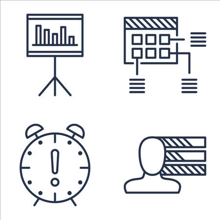 personality: Set Of Project Management Icons On Deadline, Personality, Statistics And More. Illustration