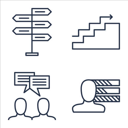 personality: Set Of Project Management Icons On Personality, Decision Making, Team Meeting And More.