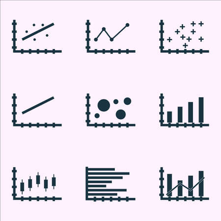 scatter: Set Of Graphs, Diagrams And Statistics Icons. Premium Quality Symbol Collection.