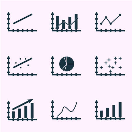 scatter: Set Of Graphs, Diagrams And Statistics Icons.