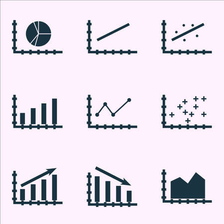 scatter: Set Of Graphs, Diagrams And Statistics Icons. Premium Quality Symbol Collection. Icons Can Be Used For Web, App And Ui Design. Illustration