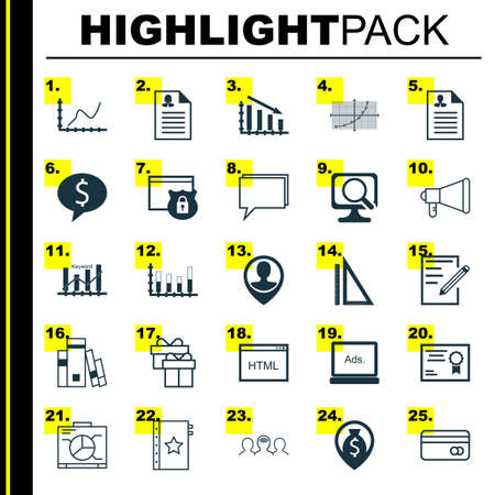 line up: Set Of 25 Universal Icons On Fail Graph, Money Navigation, Board And More Topics. Vector Icon Set Including Keyword Optimisation, Line Up, Fail Graph And Other Icons.
