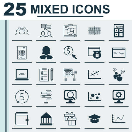 Set Of 25 Universal Icons On Website, Education Center, Digital Media And More Topics. Vector Icon Set Including Website, Wallet, PPC And Other Icons.