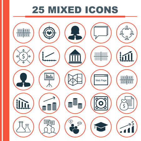 cosinus: Set Of 25 Universal Icons On Report, Collaboration, Road Map And More Topics. Vector Icon Set Including Manager, Sinus Graph, Cosinus Diagram And Other Icons.