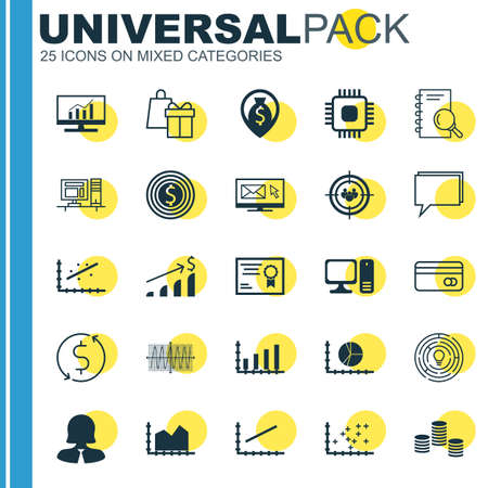 line up: Set Of 25 Universal Icons On Analytics, Analysis, Line Up And More Topics. Vector Icon Set Including Business Goal, Certificate, Cosinus Diagram And Other Icons. Illustration