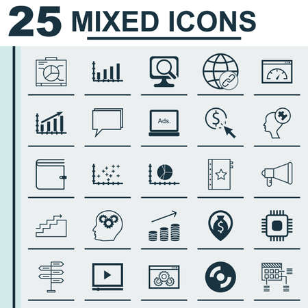 display problem: Set Of 25 Universal Icons On Money Navigation, Website Performance, Schedule And More Topics. Vector Icon Set Including Profit Graph, Blank Cd, Loading Speed And Other Icons.