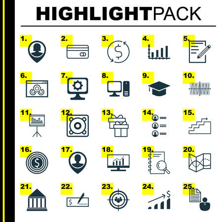 Set Of 25 Universal Icons On Pc, Successful Investment, Graduation And More Topics. Vector Icon Set Including Dynamics, Report, Bank Payment And Other Icons. Illustration