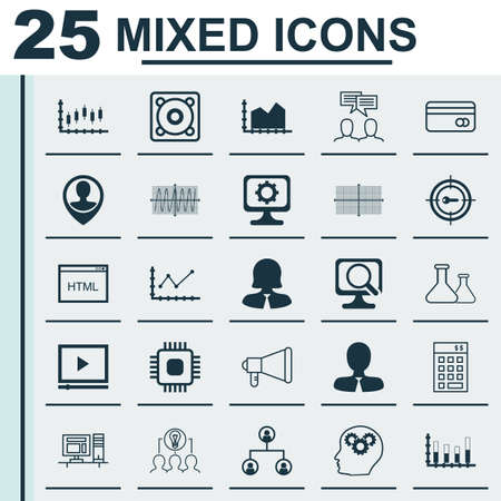cosinus: Set Of 25 Universal Icons On Manager, Investment, Keyword Marketing And More Topics. Vector Icon Set Including Manager, Cosinus Diagram, Collaborative Solution And Other Icons.