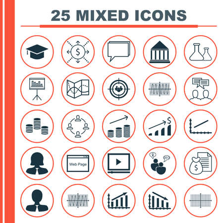 cosinus: Set Of 25 Universal Icons On Road Map, Cosinus Diagram, Website And More Topics. Vector Icon Set Including Discussion, Line Up, Road Map And Other Icons.