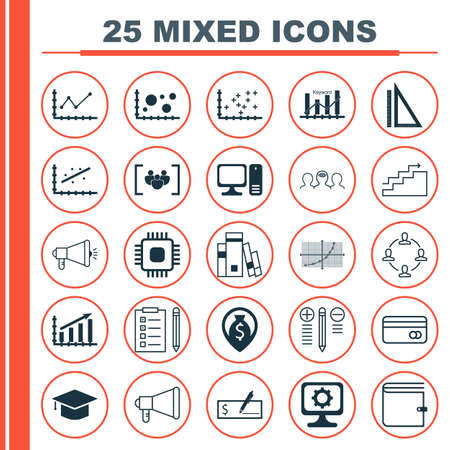 cash book: Set Of 25 Universal Icons On Computer, Media Campaign, Reminder And More Topics. Vector Icon Set Including Money Navigation, Announcement, Plastic Card And Other Icons.