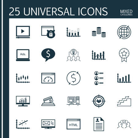 dynamic html: Set Of 25 Universal Icons On Analytics, Security, Job Applicants And More Topics. Vector Icon Set Including Business Deal, Collaborative Solution, Digital Media And Other Icons.