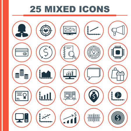 Set Of 25 Universal Icons On Successful Investment, Business Goal, Computer And More Topics. Vector Icon Set Including Market Research, Innovation, Money And Other Icons.