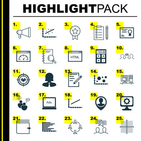 line up: Set Of 25 Universal Icons On Present Badge, Coaching, Line Up And More Topics. Vector Icon Set Including Financial, Reminder, Paper And Other Icons. Illustration