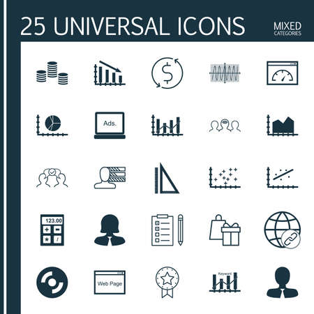 cosinus: Set Of 25 Universal Icons On Website, Cosinus Diagram, Keyword Optimisation And More Topics. Vector Icon Set Including Cosinus Diagram, Money, Measurement And Other Icons. Illustration