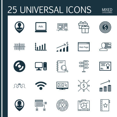 Set Of 25 Universal Icons On Money, Employee Location, Computer And More Topics. Vector Icon Set Including Blank Cd, Newsletter, Computer And Other Icons.