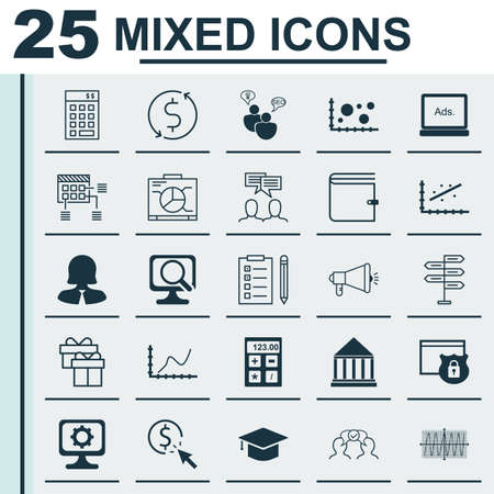 Set Of 25 Universal Icons On Cosinus Diagram, Media Campaign, Security And More Topics. Vector Icon Set Including Analytics, Business Woman, Financial And Other Icons. Illustration