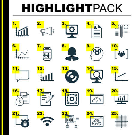 line up: Set Of 25 Universal Icons On Loading Speed, Paper, Market Research And More Topics. Vector Icon Set Including Market Research, Decision Making, Line Up And Other Icons.