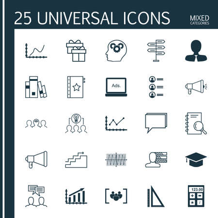 cosinus: Set Of 25 Universal Icons On Cosinus Diagram, Growth, Profit Graph And More Topics. Vector Icon Set Including Conference, Growth, Measurement And Other Icons.