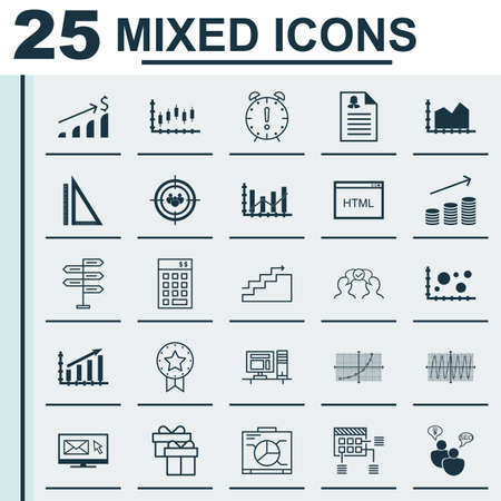 dynamic html: Set Of 25 Universal Icons On Growth, Computer, Present And More Topics. Vector Icon Set Including Comparsion, Board, Time Management And Other Icons.