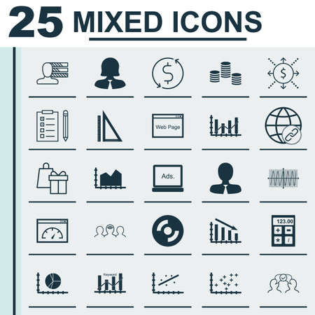 Set Of 25 Universal Icons On Blank Cd, Plot Diagram, Reminder And More Topics. Vector Icon Set Including Keyword Optimisation, Manager, Plot Diagram And Other Icons.