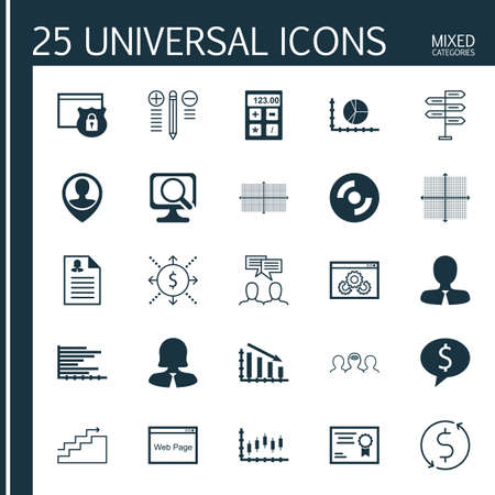 graphical chart: Set Of 25 Universal Icons On Bars Chart, Money Trasnfer, Graphical Grid And More Topics. Vector Icon Set Including Business Woman, Opportunity, Website And Other Icons. Illustration