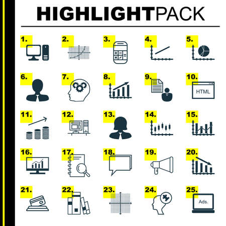 dynamic html: Set Of 25 Universal Icons On Graphical Grid, Line Up, Human Mind And More Topics. Vector Icon Set Including Library, Analysis, Fail Graph And Other Icons.