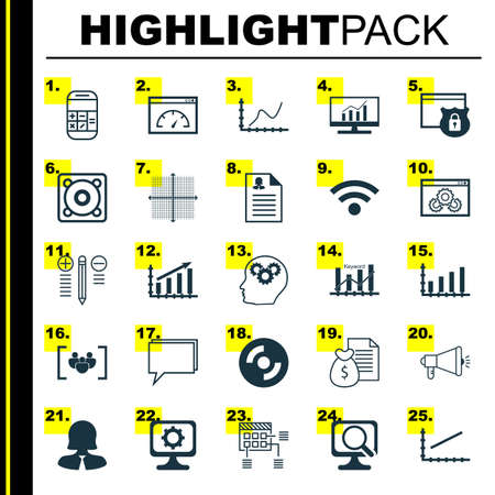 Set Of 25 Universal Icons On Website Performance, Business Woman, Graphical Grid And More Topics. Vector Icon Set Including Dynamics, Website Performance, Keyword Optimisation And Other Icons.