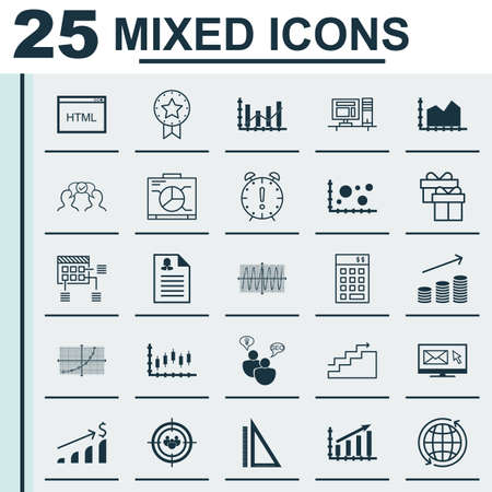 dynamic html: Set Of 25 Universal Icons On Stock Market, Time Management, Cosinus Diagram And More Topics. Vector Icon Set Including Cosinus Diagram, Growth, Board And Other Icons.