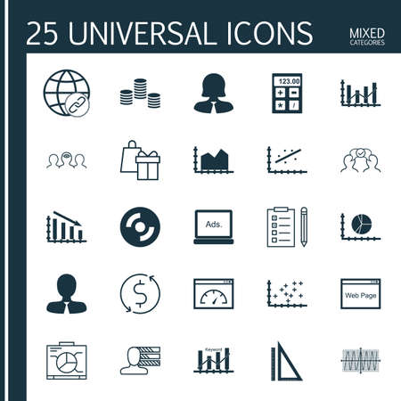 cosinus: Set Of 25 Universal Icons On Plot Diagram, Loading Speed, Manager And More Topics. Vector Icon Set Including Cosinus Diagram, Connectivity, Blank Cd And Other Icons. Illustration