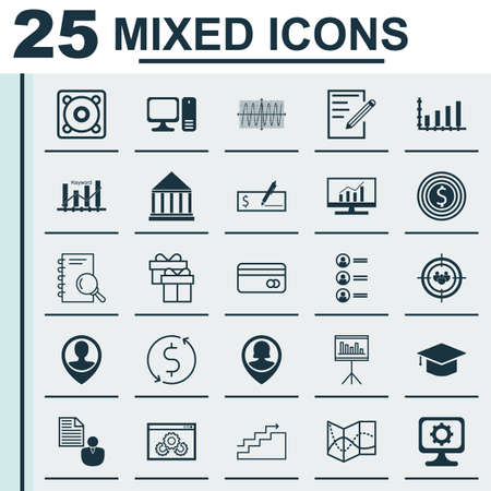Set Of 25 Universal Icons On Job Applicants, Analysis, Employee Location And More Topics. Vector Icon Set Including Dynamics, Keyword Optimisation, Analysis And Other Icons.