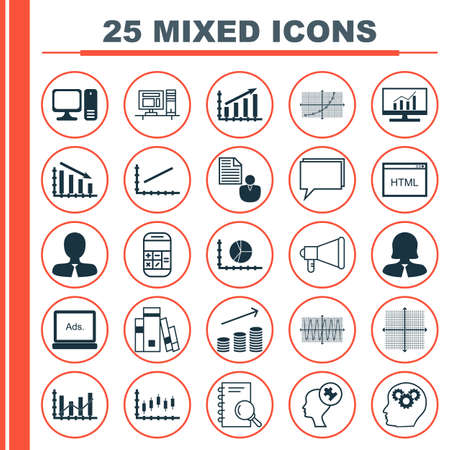 dynamic html: Set Of 25 Universal Icons On Circle Graph, Human Mind, Sinus Graph And More Topics. Vector Icon Set Including Fail Graph, Calculation, Brain Process And Other Icons. Illustration