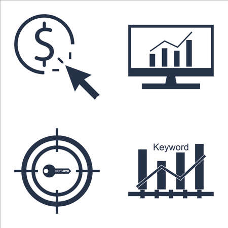 comprehensive: Set Of SEO, Marketing And Advertising Icons On Pay Per Click, Keyword Ranking, Comprehensive Analytics And More.