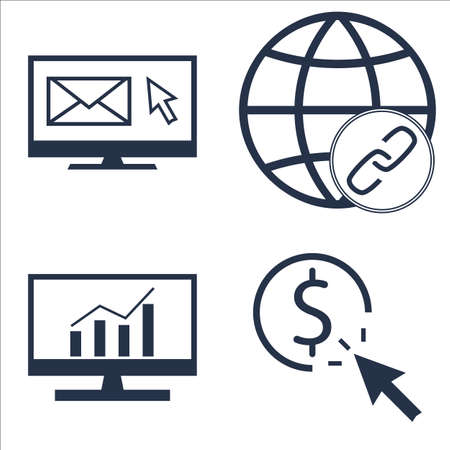 comprehensive: Set Of SEO, Marketing And Advertising Icons On Comprehensive Analytics, EmAIl Marketing, Link BUIlding And More. Illustration