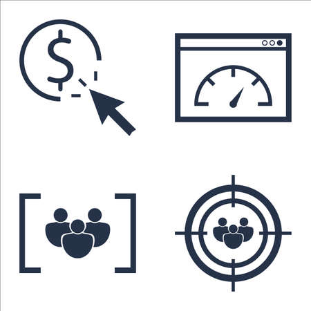 targeting: Set Of SEO, Marketing And Advertising Icons On Audience Targeting, Page Speed, Pay Per Click And More. Illustration