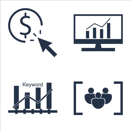 focus: Set Of SEO, Marketing And Advertising Icons On Keyword Ranking, Focus Group, Comprehensive Analytics And More.