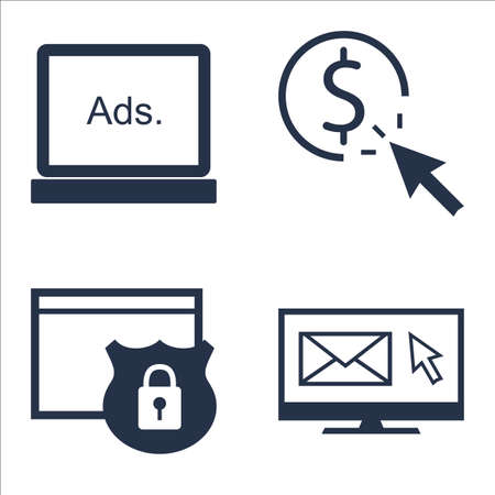 per: Set Of SEO, Marketing And Advertising Icons On EmAIl Marketing, Pay Per Click, Website Protection And More.