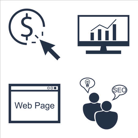 comprehensive: Set Of SEO, Marketing And Advertising Icons On SEO Consulting, Web Page, Comprehensive Analytics And More.