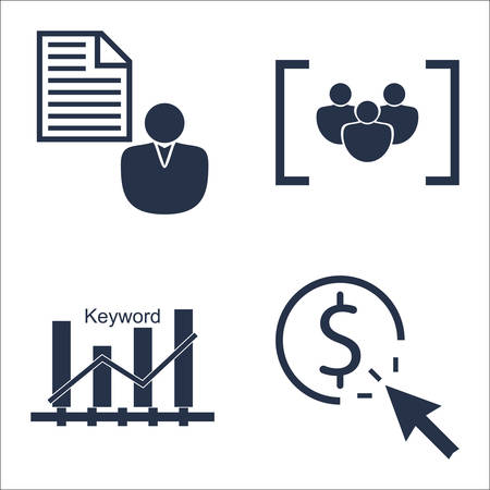 brief: Set Of SEO, Marketing And Advertising Icons On Pay Per Click, Client Brief, Keyword Ranking And More. Illustration