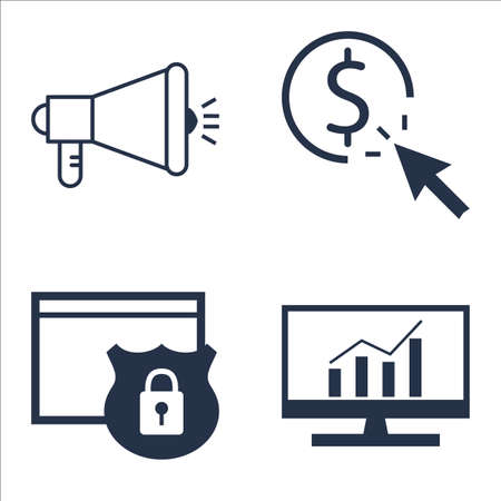 comprehensive: Set Of SEO, Marketing And Advertising Icons On Viral Marketing, Comprehensive Analytics, Website Protection And More.