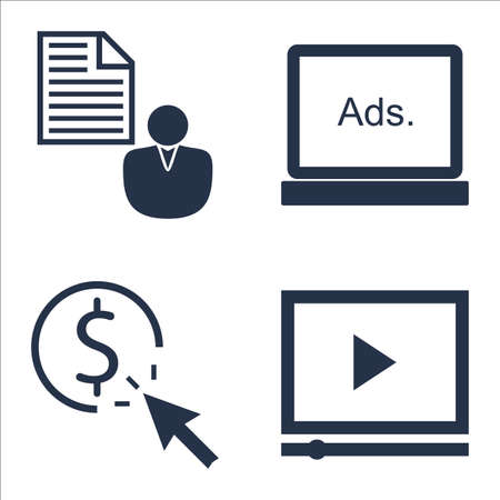 brief: Set Of SEO, Marketing And Advertising Icons On Client Brief, Pay Per Click, Display Advertising And More.