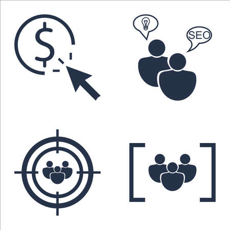 targeting: Set Of SEO, Marketing And Advertising Icons On Focus Group, Audience Targeting, Pay Per Click And More. Illustration