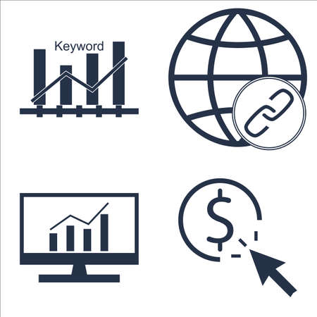 comprehensive: Set Of SEO, Marketing And Advertising Icons On Comprehensive Analytics, Keyword Ranking, Pay Per Click And More. Illustration