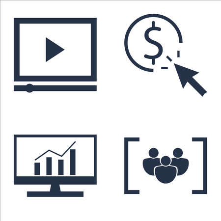 comprehensive: Set Of SEO, Marketing And Advertising Icons On Pay Per Click, Video Advertising, Comprehensive Analytics And More.