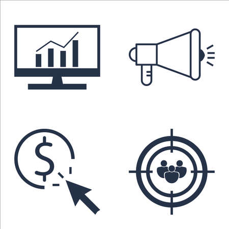 comprehensive: Set Of SEO, Marketing And Advertising Icons On Comprehensive Analytics, Audience Targeting, Viral Marketing And More. Illustration