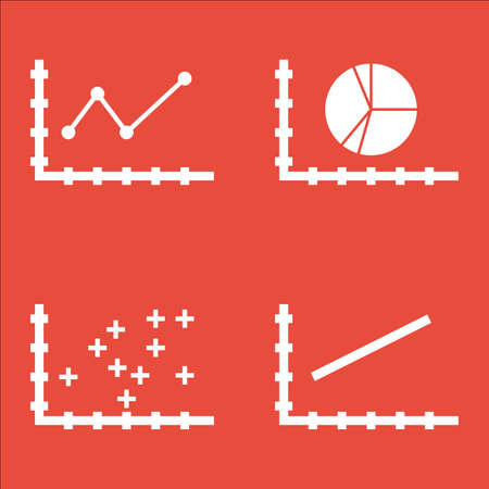 Set Of Graphs, Diagrams And Statistics Icons. Premium Quality Symbol Collection. Icons Can Be Used For Web, App And UI Design. Illustration