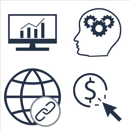 comprehensive: Set Of SEO, Marketing And Advertising Icons On Pay Per Click, Comprehensive Analytics, Creativity And More. Illustration