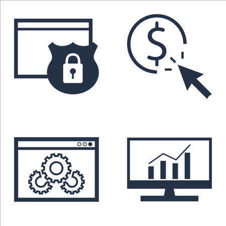 comprehensive: Set Of SEO, Marketing And Advertising Icons On Website Protection, Comprehensive Analytics, Website Optimization And More.