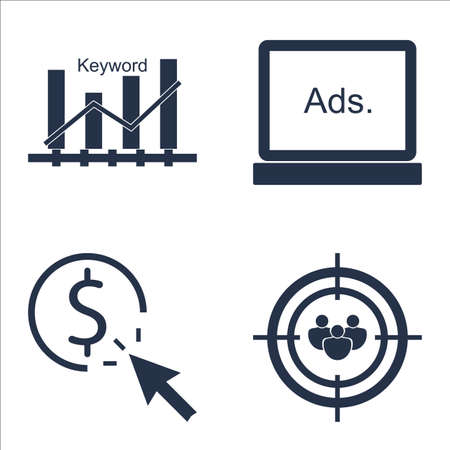 keyword: Set Of SEO, Marketing And Advertising Icons On Keyword Ranking, Audience Targeting, Display Advertising And More.