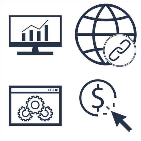 comprehensive: Set Of SEO, Marketing And Advertising Icons On Pay Per Click, Website Optimization, Comprehensive Analytics And More. Illustration