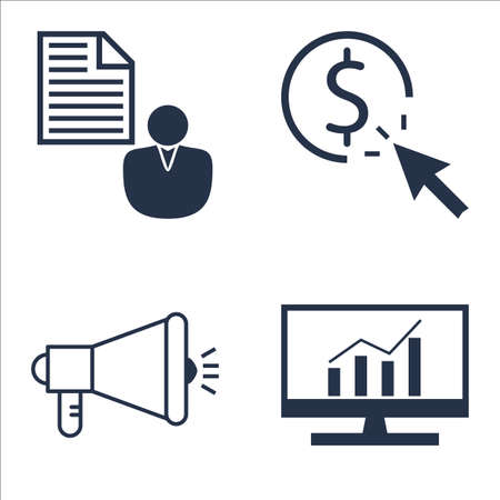 comprehensive: Set Of SEO, Marketing And Advertising Icons On Viral Marketing, Client Brief, Comprehensive Analytics And More.